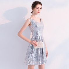 Sequined Cocktail Dresses Elegant V Neck Sleeveless Backless Formal Party Gowns Above Knee Plus Size Fashion Dresses, Plus Size Gowns, Plus Size Fashion For Women, Plus Size Maxi Dresses, Backless Cocktail Dress, Cheap Cocktail Dresses, Sequin Cocktail Dress, Dresses Short, Cheap Dresses