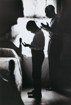 "Gordon Parks, ""Evening Prayer, Muslim Father and Son, New York,"" gelatin silver print Still Photography, Street Photography, Black Photography, Black Love, Black And White, Black Man, Prayer For Studying, Evening Prayer, Gordon Parks"