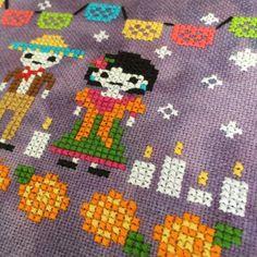 Day of the Dead Cross Stitch Pattern:Dia de los Muertos PDF image 2 Diy Embroidery Shirt, Mexican Embroidery, Embroidery Patterns, Cross Stitching, Cross Stitch Embroidery, Cross Stitch Patterns, Halloween Cross Stitches, Thread Art, Dmc Floss