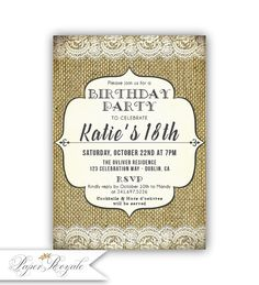 273 best teen birthday invitations images on pinterest in 2018 burlap 18th birthday invitations teen birthday invites sweet 16 or any age girls invitations birthday parties printable invitation filmwisefo