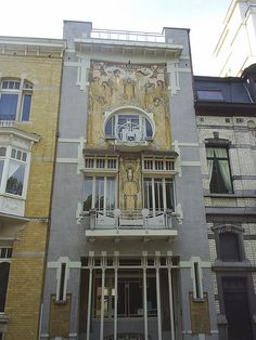A gorgeous house with an Art Nouveau facade in Brussels, Belgium.