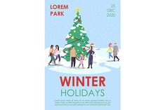 Xmas, Christmas Tree, Christmas Ornaments, New Year Celebration, Newsletter Templates, Flat Illustration, Page Layout, Brochure Template, Winter Holidays