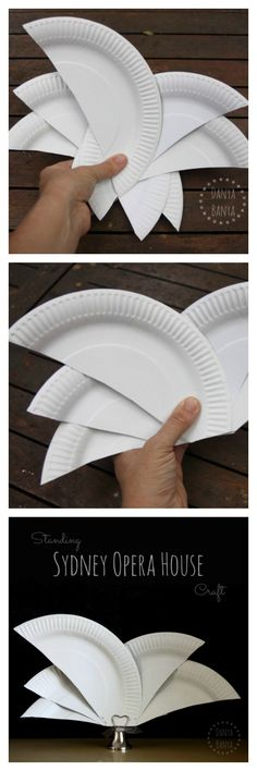 How to make an easy Sydney Opera House craft from paper plates. The Sydney Opera House is one of Australia's most famous icons. ~ Danya Banya  *for when I start doing WORLD GEOGRAPHY