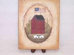 SM Canvas Painting Hand Painted Primitive FolkArt Red Saltbox Flag Sheep Rjpe | eBay