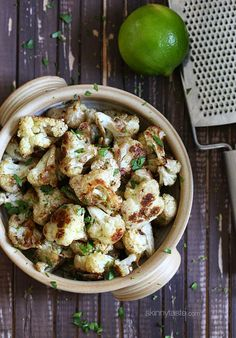 Lime juice and cilantro roasted cauliflower