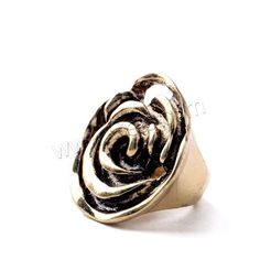 Zinc Alloy Finger Ring, Flower, antique gold color plated, lead & cadmium free, 30mm, US Ring Size:6.5, Sold By PC