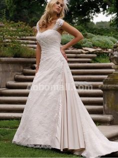 Satin A-line / Princess Off-the-shoulder Floor-length Wedding Dress - US$ 239.00
