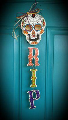 Sugar Skull Door Hanger hand painted by gonepostal09 on Etsy, $26.00