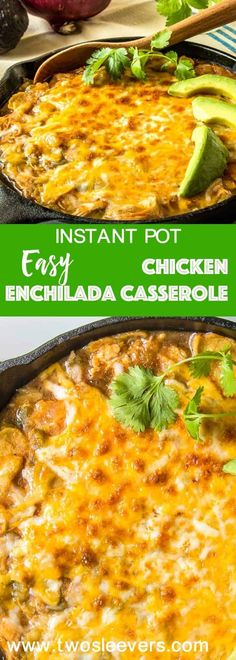 This Pressure Cooker Chicken Enchilada Casserole is so perfect for a busy day. Put everything into the pressure cooker, and then broil the cheesy topping for a few minutes for all of the taste of Chicken Enchiladas, with half the effort. via @twosleevers