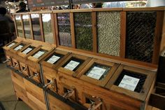 more beautiful bulk storage ideas. This one has the advantage that people can see it well, and touch it (although that can easily be a disadvantage as well) Co Op Store, Bulk Store, Grocery Store, Grain Storage, Wood Storage, Health Food Shops, Zero Waste Store, Bokashi, Home Decoracion