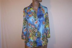 Shirt Blouse ESSENTIALS Sz S Spandex Stretch 3/4 Sleeves Button Front Colorful #EssentialsbyMilano #ButtonDownShirt #Career
