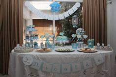 Mesa dulce temática pajaritos para bautismo de Nicolás