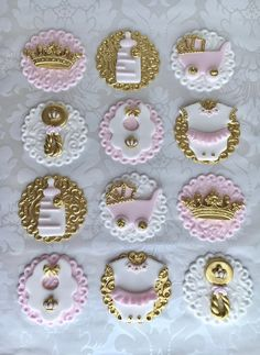 Princess Fondant Cupcake Toppers. Edible Baby Shower Toppers. | Etsy Cupcakes Roses, Gold Cupcakes, Valentine Cupcakes, Rose Cupcake, Baby Cupcake, Torta Baby Shower, Baby Shower Cupcake Toppers, Fondant Cupcake Toppers, Decorated Cookies