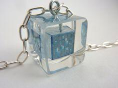 Minecraft Diamond cube resin necklace.  Shiny. by mindblocks, $18.00