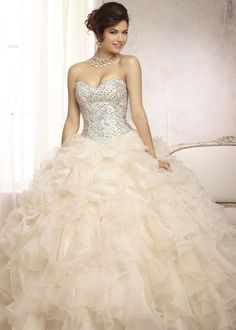 Vizcaya 88089 - Champagne Beaded Quinceanera Dresses - RissyRoos.com
