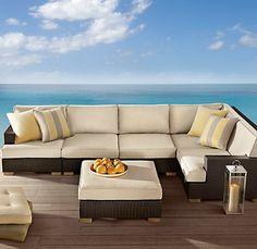 Del Mar Customizable L-Sectional Espresso restoration hardware outdoor furniture Restoration Hardware Outdoor Furniture, Deck Furniture, Outdoor Living, Outdoor Decor, Modern Design, Interior Design, Espresso, Home, Cabin Ideas