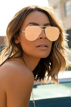 Quay Australia - X Desi Perkins Rose Gold High Key Designer Sunglasses