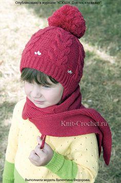 Двухслойная шапочка и шарф для девочки, вязанные на спицах.