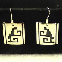 Sterling Silver Native American Navajo Signed T Billy Dangle Earrings