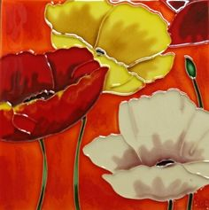 Continental Art Center BD-0309 8 by 8-Inch Three Poppy Flowers with Orange Background Ceramic Art Tile by Continental Art Center. $26.26. Pre-attached backings can be removed by soaking in water for installation as backsplash or a center piece both indoor and outdoor. 100-Percent hand made 3-D textures are created by hand pipping process; One of a kind Come with a recyclable gift box. Exclusive designs from well known artists with signature of the artist on ea...