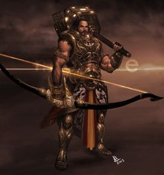 Arjuna - The Archer The closest thing to a protagonist the Mahabharata has. Son of Indra, the god of rain and thunder. The middle Durga, Hanuman, Mythological Characters, Fantasy Characters, Epic Characters, God Of War, Rain And Thunder, The Mahabharata, Avatar
