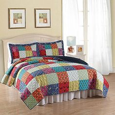Full of bright, vivid colors, the Halifax Quilt Set is the perfect way to cheer up your bedroom. This quilt is decorated with a lively patchwork design that combines fun patterns and colors for a wonderful way to decorate your home.