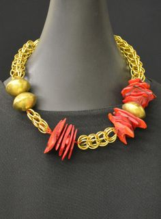 Carved Wood-Antique African Brass-Chain