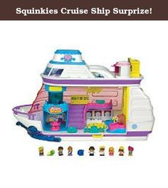Squinkies Cruise Ship Surprize!. All aboard! The Squinkies crew welcomes you to the new Cruise Ship Surprize playset! Now all your Squinkies friends can sail the beautiful seas in relaxing style! Ride the elevator to the upper deck and swim in the light up pool! Shop at the gift store with the light up aquarium, or play arcade games on the games balcony! The Captain even invites you to his control room before dining at the Captain's table. Later dance on the spinning ballroom floor under…