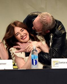 Actors Carice van Houten (L) and Liam Cunningham speak onstage at the 'Game of Thrones' panel during Comic-Con International 2015 at the San Diego Convention Center on July 2015 in San Diego, California. Natalie Dormer, Sophie Turner, Jaqen H Ghar, Liam Cunningham, Iwan Rheon, Game Of Thrones Cast, A Dance With Dragons, The New Mutants, Ensemble Cast