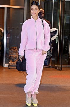 17 Rihanna Outfits That Will Make Baby Pink Your New Favorite Color Pink's not my thing but on her its irresistible