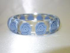 Vintage Clear Lucite Bracelet with Blue Embedded Roses