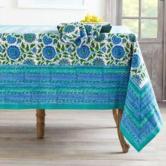 W7375Woodblock Print Tablecloth – Floral Linens - wisteria.com