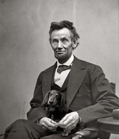 President Lincoln and his Doxie. The best writer among all presidents (except maybe Jefferson?) Doxy looks quite cozy.
