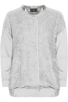 By Malene Birger Asia lace-paneled silk-blend bomber jacket | NET-A-PORTER