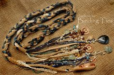 Beach wedding collection - luxury handfasting cord with copper stamping pieces, driftwood and wire wrapped gemstones, plus silk flower rustic chich bouquet and matching dreadlock jewellery by BindingTies, £350.00