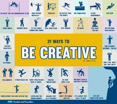 How to be creative visualized step by step, going through 31 different stages of creativity from finding hidden insight to finishing despite self-doubt.