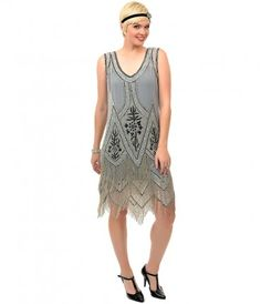 Order this grey & black embroidered flapper dress from Unique Vintage and get free shipping over $150....Price - $398.00-fmbTJQKA