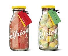 Selfridges Selections candy packaging bottles with transparent shrink sleeve labels.   #etiquette #bouteille #shrink #sleeves #bottle #labels