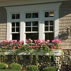 exterior window trim ideas - I like the siding and the window trim and window box but not the rock Exterior Paint Colors, Exterior House Colors, Exterior Design, Cottage Exterior, Siding Colors, Cottage Windows, House Windows, House Shutters, Black Shutters