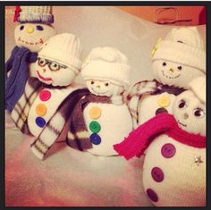 Snow people I made out of socks - great gifts & I love  them and fun to do