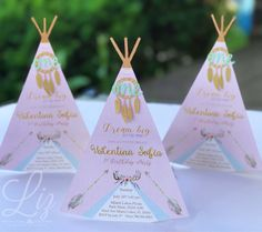 Dream Big...Little One! ✨ look at those tee pee people! Ain't them cute?? Bohemian whimsical invitations for Valentina Sofia's 1st. Birthday party . Pow Wow tee pee boho bohemian theme cricut made convite party planner paper goods paper craft dream catcher atrapa sueños cumpleaños bohemio
