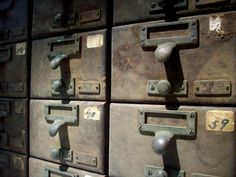 Vintage Library Card Catalogue Drawers with Label by urgestudio, $435.00