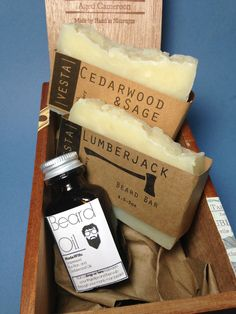Our Beard Kit Gift Set includes our Lumber Jack Beard Bar (beard shampoo), a bar of vegan body soap, and a 1 ounce bottle of our conditioning
