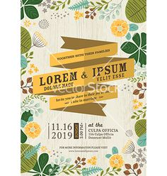Folk floral nature Wedding invitation card with flourish background vector by kraphix on VectorStock®