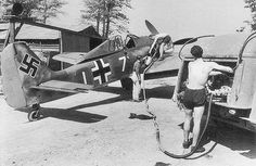 Focke-Wulf Fw 190A3 June 1944.    German fighter Focke-Wulf Fw 190A3-Lieutenant Egon Mayer of 7.JG2 while refueling at Theville. The Kiel fighter visible mark of 44-x aerial victories. The overall battle by Egon Mayer, June 13, 1940 to March 2, 1944 (date of death) had 102 aerial victories.