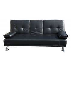 modern black leather futon