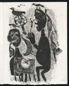 Mangeurs d'oiseaux from Matière et mémoire ou les lithographies à l'école  Jean Dubuffet (French, 1901–1985)