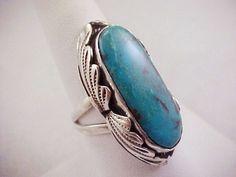Vtg Hubert Yowytewa Hopi HY Turquoise Sterling Ring Sz 7 Native American  7.8Gr  #HY