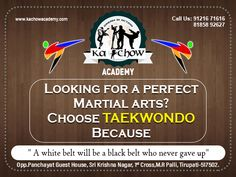 Training in Taekwondo Gives you strong mind and body Necessary for a winner who never backs down. White Belt, Black Belt, Never Back Down, Chow Chow, Taekwondo, Never Give Up, Martial Arts, Mindfulness, Training