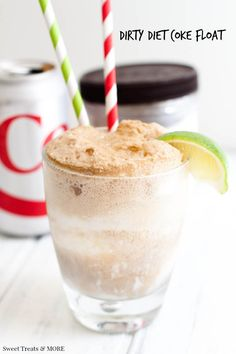 Dirty Diet Coke Float || Sweet Treats and More. Creamy coconut ice cream, fresh lime, and diet coke makes this the perfect summer treat!